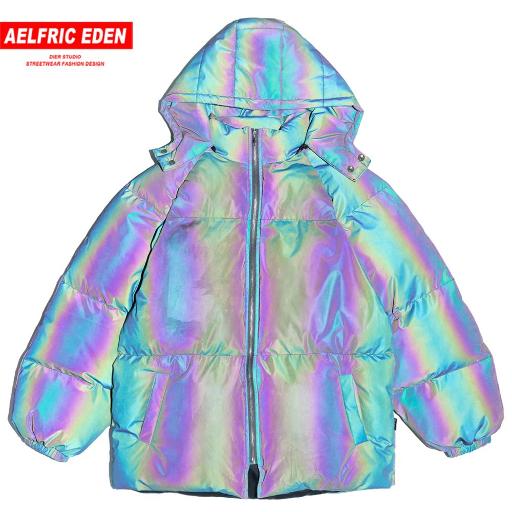 Aelfric Eden Hip Hop 3M Reflective Double-sided Men Hooded Parka Casual Padded Jacket Coats 2019 Harajuku Windbreaker Streetwear