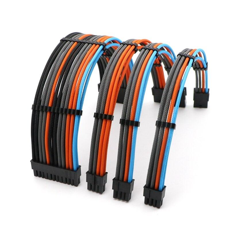 Image 2 - Basic Extension Cable Kit   180 Degree Mixed Corlor Sleeved ATX 24Pin/ 4+4Pin, PCI E 6+2Pin/ 6Pin Power Extension Cable.-in Computer Cables & Connectors from Computer & Office