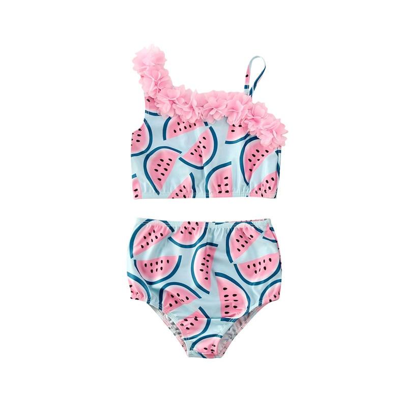 Fashion Summer Toddler Infant Baby Girls New Watermelon Print 2PCS Swimsuit Swimwear Swimming Bikini Set
