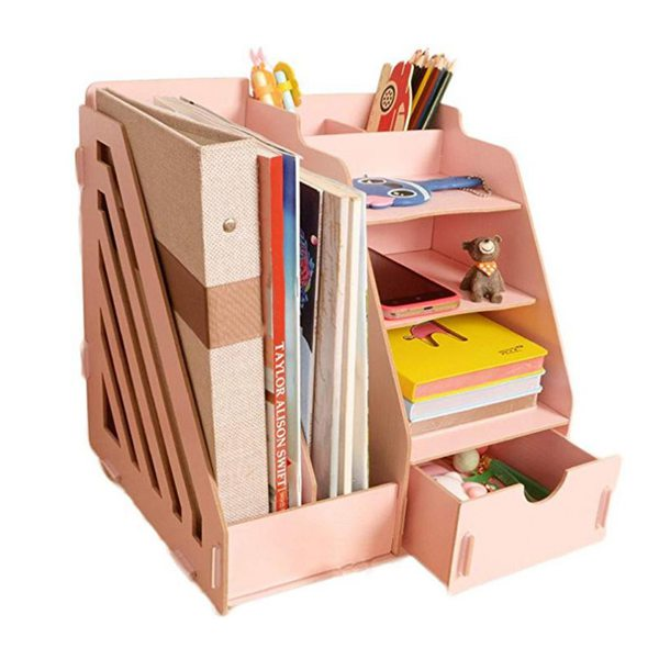 Wood Desk Organizer Drawer Trays Office Desktop Organizers File Holders Office Supplies 4 Tier 6 Compartments (Pink)