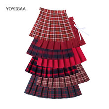 Летние женские плиссированные юбки с высокой талией Женская