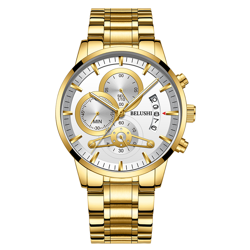 Top Brand Luxury Luminous Mens Watches Waterproof Business Watches Man Chronograph Quartz Gold Watch Male Clock erkek kol saati in Quartz Watches from Watches