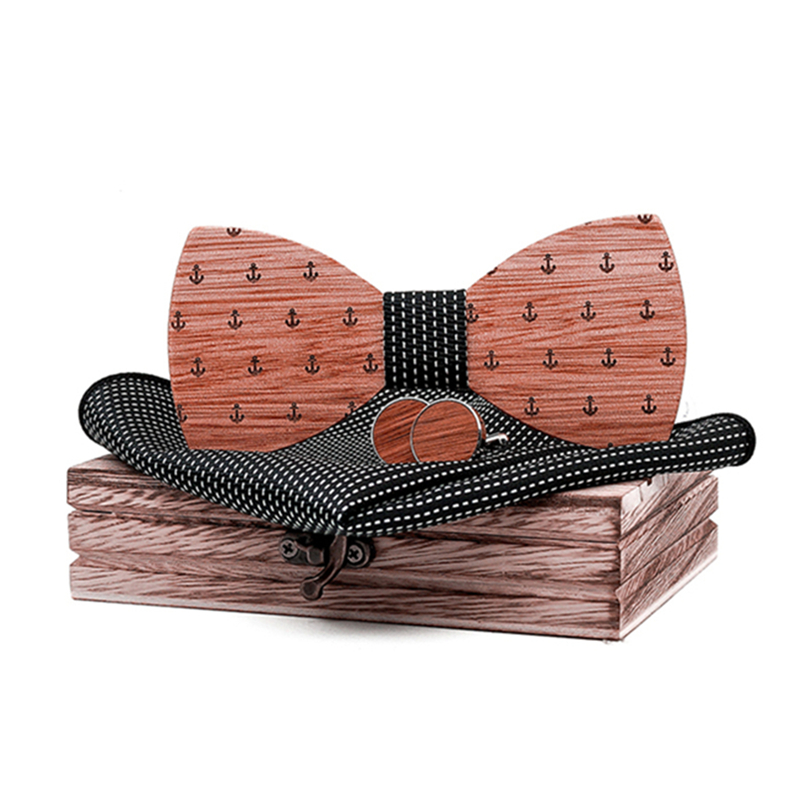 Adjustable Walnut Wooden Bow Tie For Men Pocket Square Cufflinks Brooch Set And Wood Box Suit Wedding Novelty Neck Ties Anchor