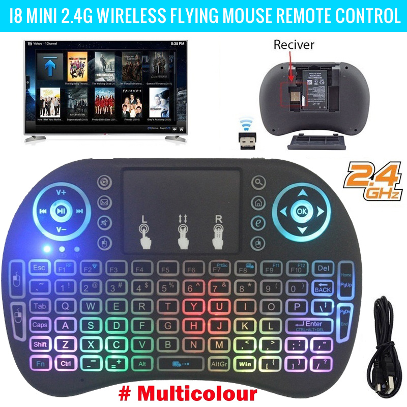Hot Portable Air Mouse I8 Keyboard 2.4GHz Multicolor Backlight Touchpad Wireless Mouse For Android TV BOX 8.1 T9 X9