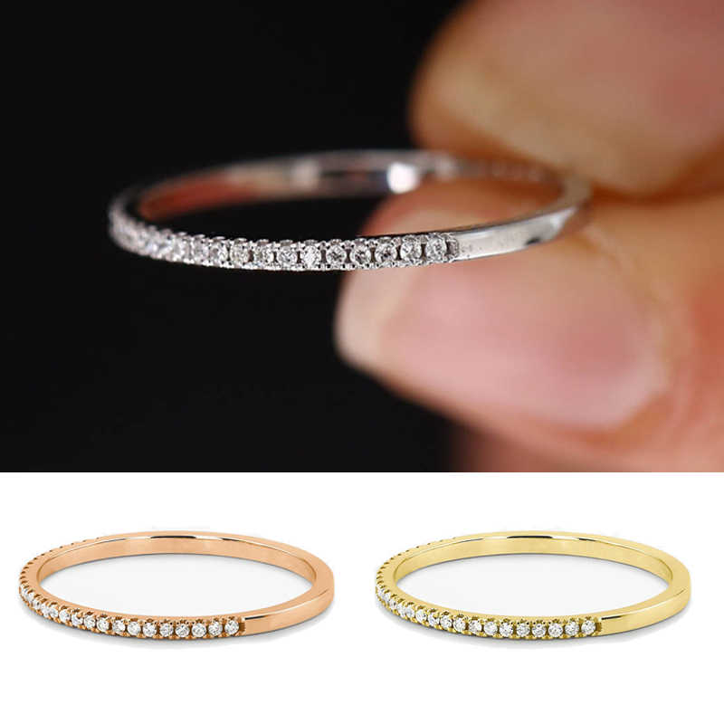 Heißer Verkauf Echtes 18K weiß gold pflastern Diamant Ring Edlen Schmuck Einfache Runde Dünne Ringe für Frauen Element Ring geschenk
