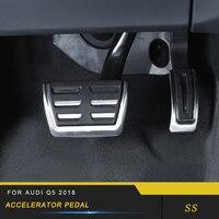 Para audi q5 fy 2018 estilo do carro acelerador resto freio pé pedal capa guarnição quadro adesivo cromo acessórios interiores|adesivos automotivos internos| |  -