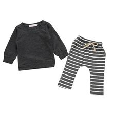 Autumn Baby Boys Clothes Set Long Sleeve Cartoon Print T-shirt Tops Striped Pants Trouser Baby Clothes Set for Infants 0-2Y #p autumn baby girls casual long sleeve cartoon print t shirt tops stripe pants suits costume set