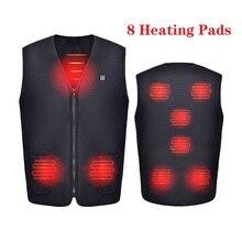 Chaleco calefactor eléctrico con USB para hombre y mujer, chaqueta con 8 almohadillas calefactoras de invierno, abrigo más cálido para acampar al aire libre, pesca, nuevo 7