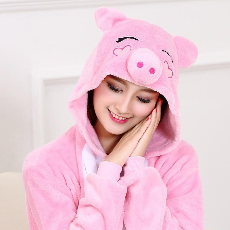 Women Kigurumis Pajama Onesie Pink Pig Funny Sleepwear Adult Party Suit Flannel  Overalls Cartoon  Homewear Unisex  Costume