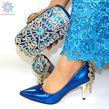 blue Color Sexy Style 2019 New Coming Shoes and Bag Sets African Shoes with Matching Bags High Quality Women Shoes and Bag cheap Venus Chan Hoof Heels Super High (8cm-up) Mary Janes Party Fits true to size take your normal size Summer Fashion Round Toe