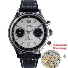 Men's Mechanical Chronograph Wrist Watches For Men 38mm st1901 Gooseneck Movement Sapphire Pilot Chronograph Watches Mens 2020
