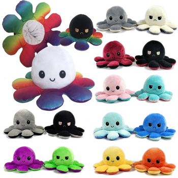 Flipped Octopus Doll Double-sided Expression Flipped Octopus Doll Reversible Plush Toy Marine Life Doll Animals Doll Toy Gifts premium new 1pc cute marine life octopus baby plush toy doll octopus multicolor optional dolls