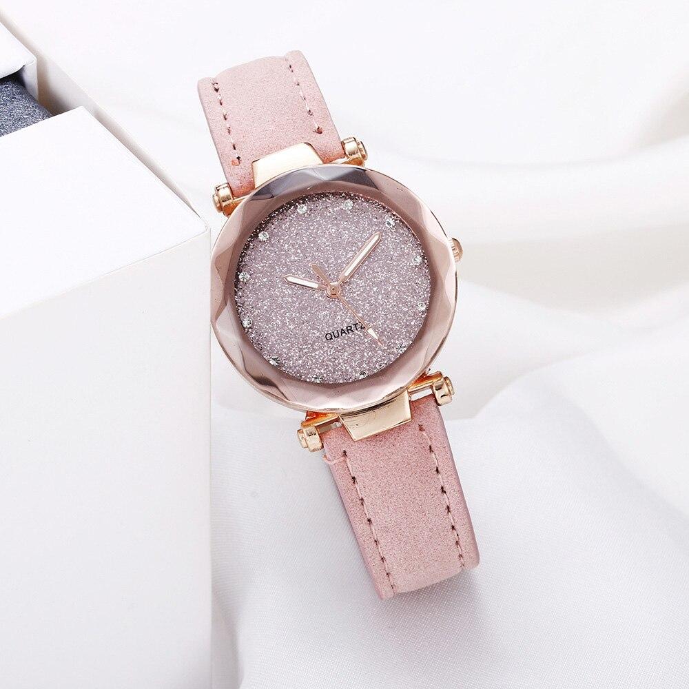 Casual Women Watches Romantic Starry Quartz Wristwatch Leather Rhinestone Watch Luxury Brand Gifts Ladies Clock Simple Watches