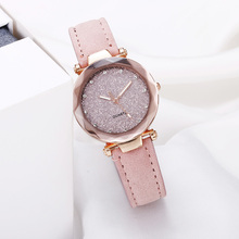 Casual Women Watches Romantic Starry Quartz Wristwatch Leather Rhinest
