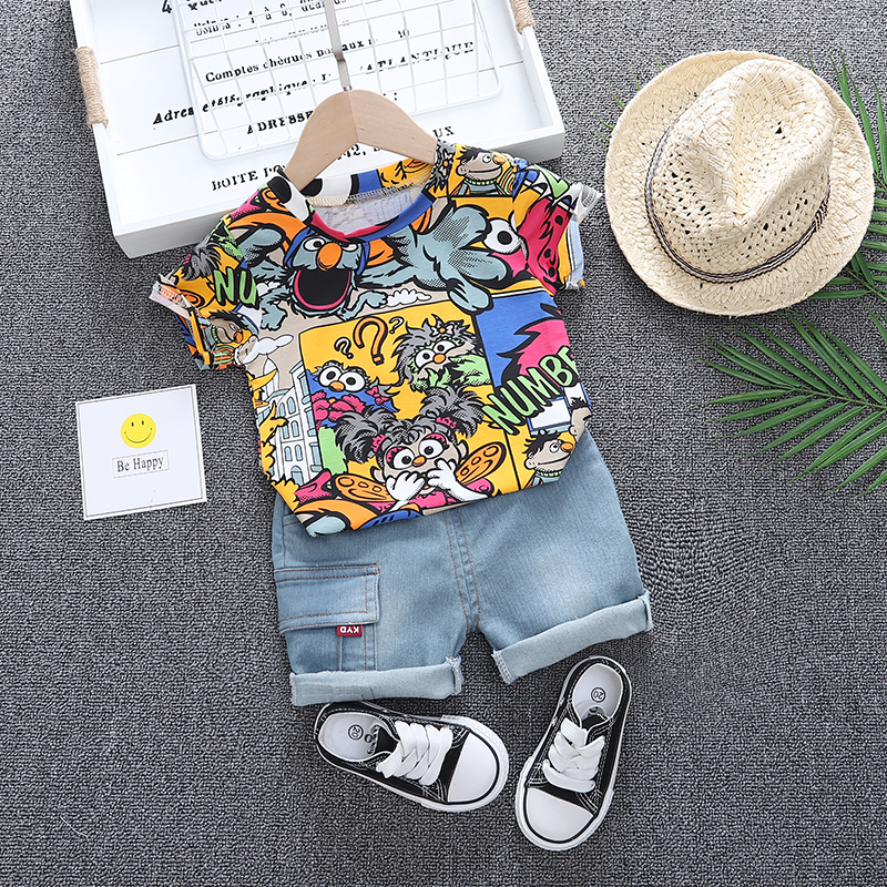 Baby Clothes Outfit Boys Summer Cartoon Animal Print T Shirt Set And Short Jeans Set For Boy Clothing Costume 1 2 3 4 Years