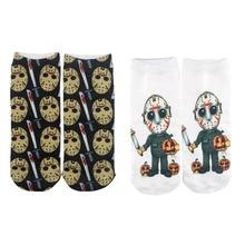 K480 1 Pair Black Friday Halloween Casual Socks Personality Invisible Socks Short Low Cut No Show Socks Cotton Happy Boat Socks