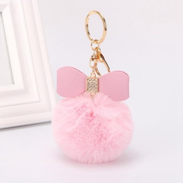 Fur Ball Kawaii Plush Toys For Children Hair Ball Pom Pom Rhinestone Bow Key Pendant Ring Keychain Soft Toys Kids Girls Gift