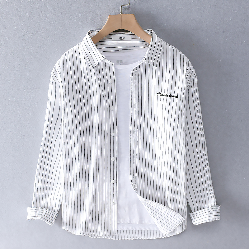 2020 Men's Long-sleeved Stripe Shirt Cotton Brand Shirts For Men Trend Casual Fashion Shirt Mens Spring And Summer Shirts Male