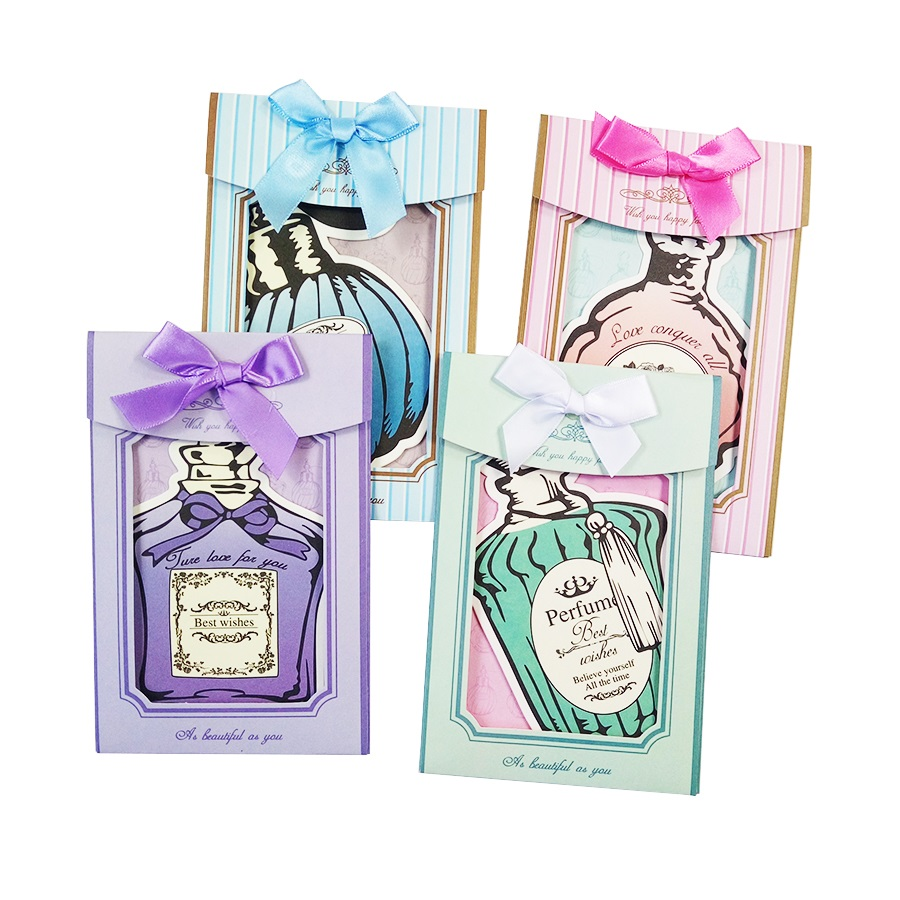 4Pcs/lot Vintage Girl Gift Perfume Bottle Style Postcards Wreath Style Greeting Card Stationery