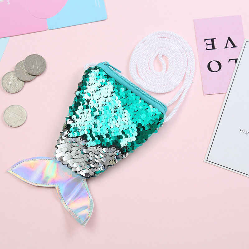 Fashion Mermaid Fishtail Sequins Kids Coin Candy Holder Mini Shoulder Bag Hot
