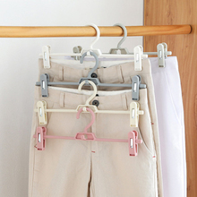 1PC Multifunction Anti-slip Clothes Hanger with clips hooks Pants drying rack Clothes Storage Holder Organizer