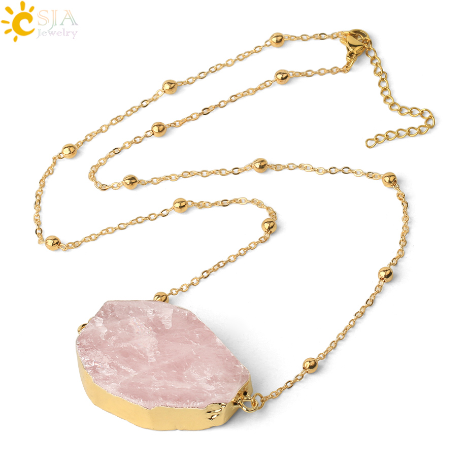 CSJA Natural Stone Pink Quartz Necklace Gold Color Double Buckle Thin Chain Irregular Crystal Pendant Healing Women Jewelry G494|Pendants| - AliExpress