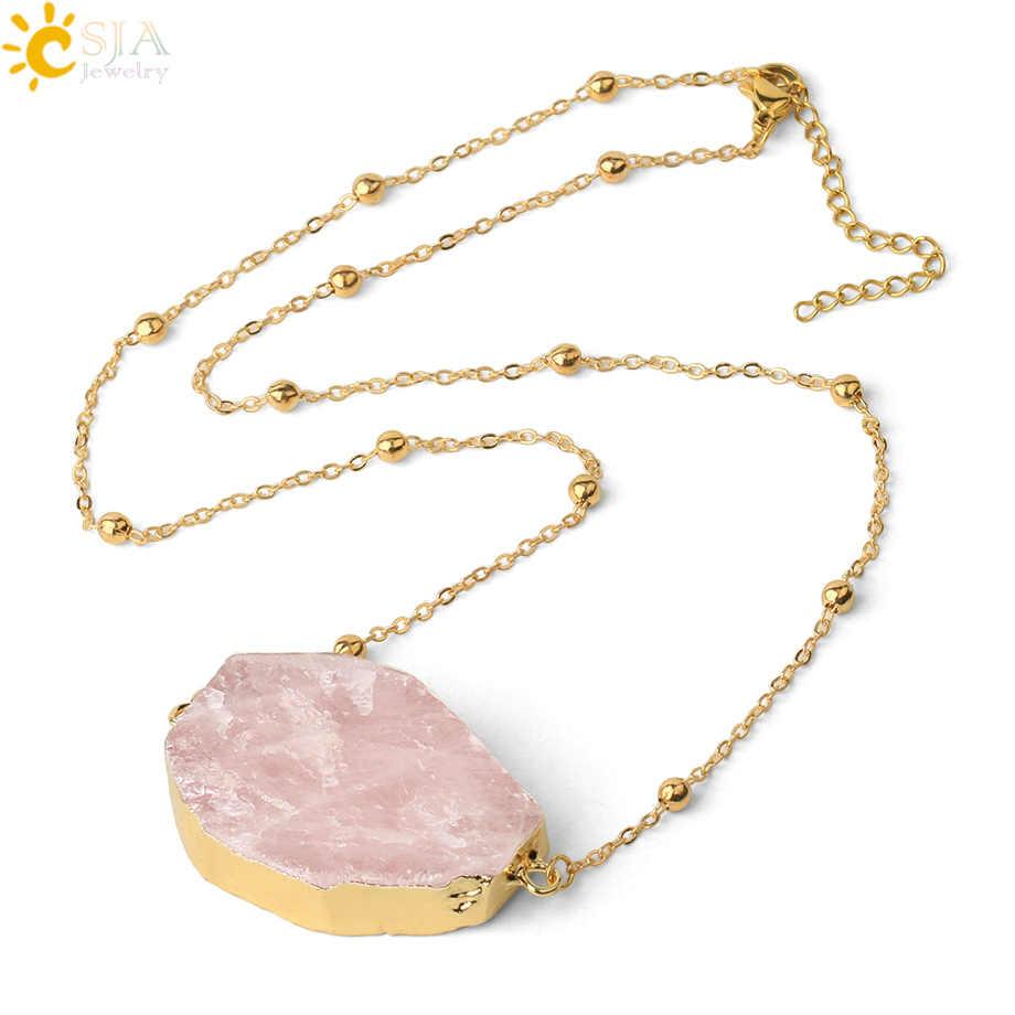 CSJA الحجر الطبيعي الوردي الكوارتز قلادة الذهب اللون مزدوجة مشبك رقيقة سلسلة غير النظامية كريستال قلادة شفاء النساء مجوهرات G494