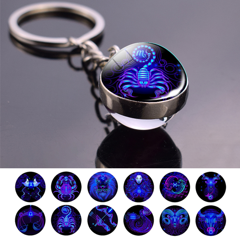New Zodiac Sign Key Chains 12 Constellation Leo Virgo Libra Scorpio Sagittarius Pendant Double Face Keyring Key Holder Birthday
