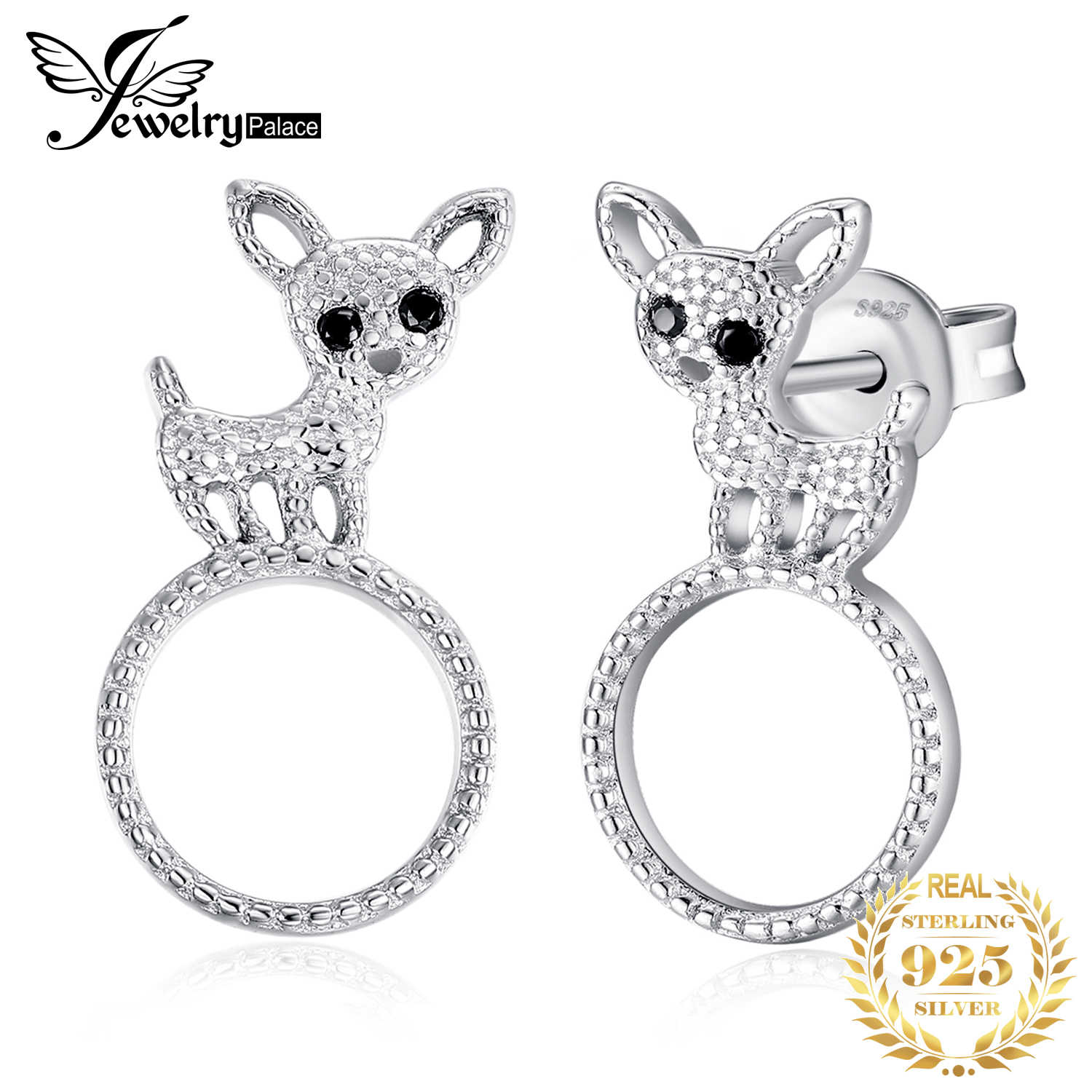 JewelryPalace Genuine Black Spinels Dog Milgrain Circular Stud Earrings 925 Sterling Silver
