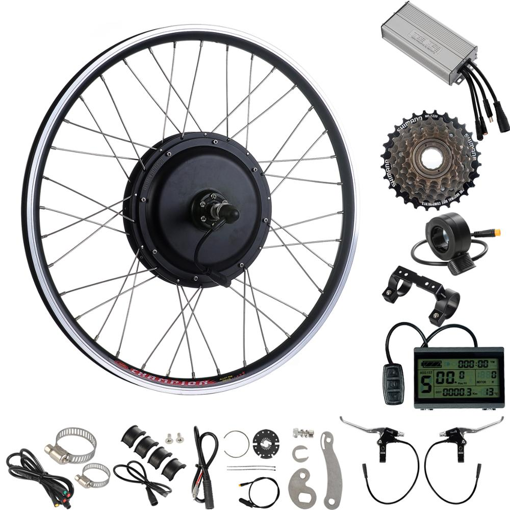 Ebike Conversion Kit 48V 1000W 26'' Rear Brushless Non-gear Hub Motor Wheel for Bicycle Upgrade Waterproof Connector E bike Kit