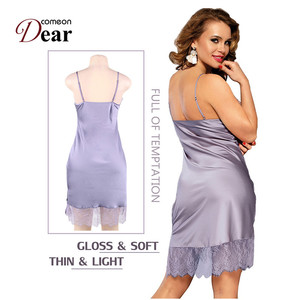 Image 2 - Comeondear Silk Satin Night Dress Lace Nightgown Women lenceria Sexy 5XL Plus Size Sleepwear Breathable Nuisette Femme RB80772