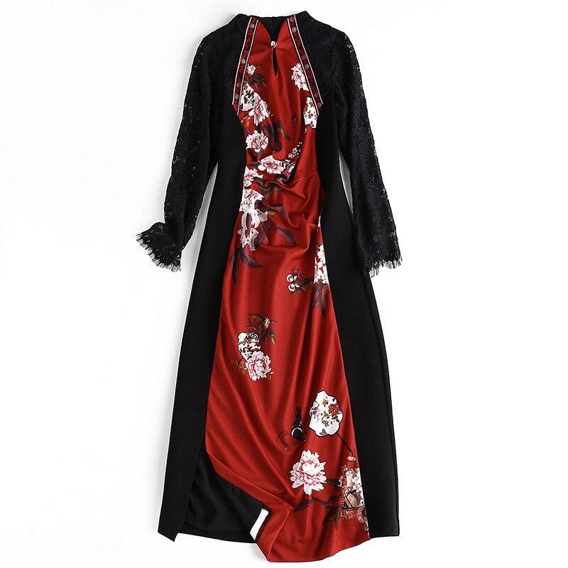 2019 automne nouveau femmes à manches longues dentelle robe couture imprimer mince robe étape robes