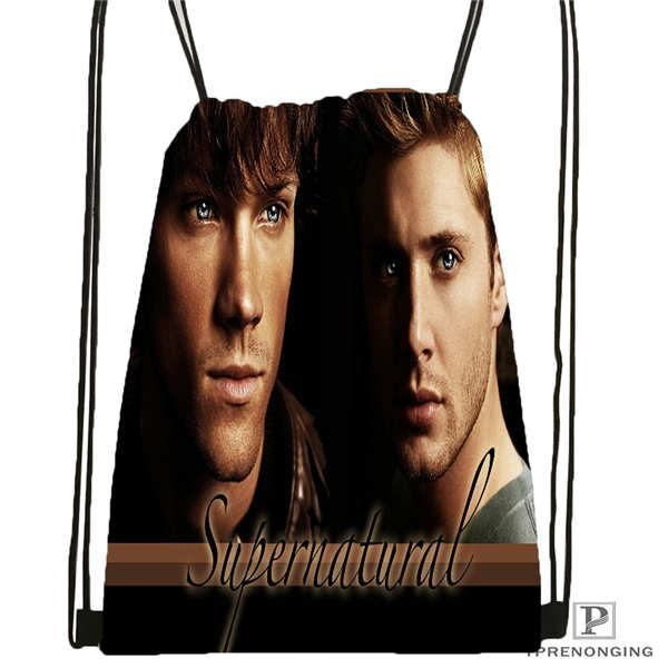 Custom Supernatural Drawstring Backpack Bag Cute Daypack Kids Satchel (Black Back) 31x40cm#180611-01-30