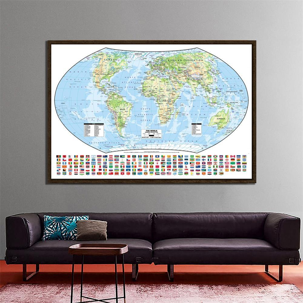 The World Hammer Projection Map With National Flags 150x100cm Non-woven Foldable World Map