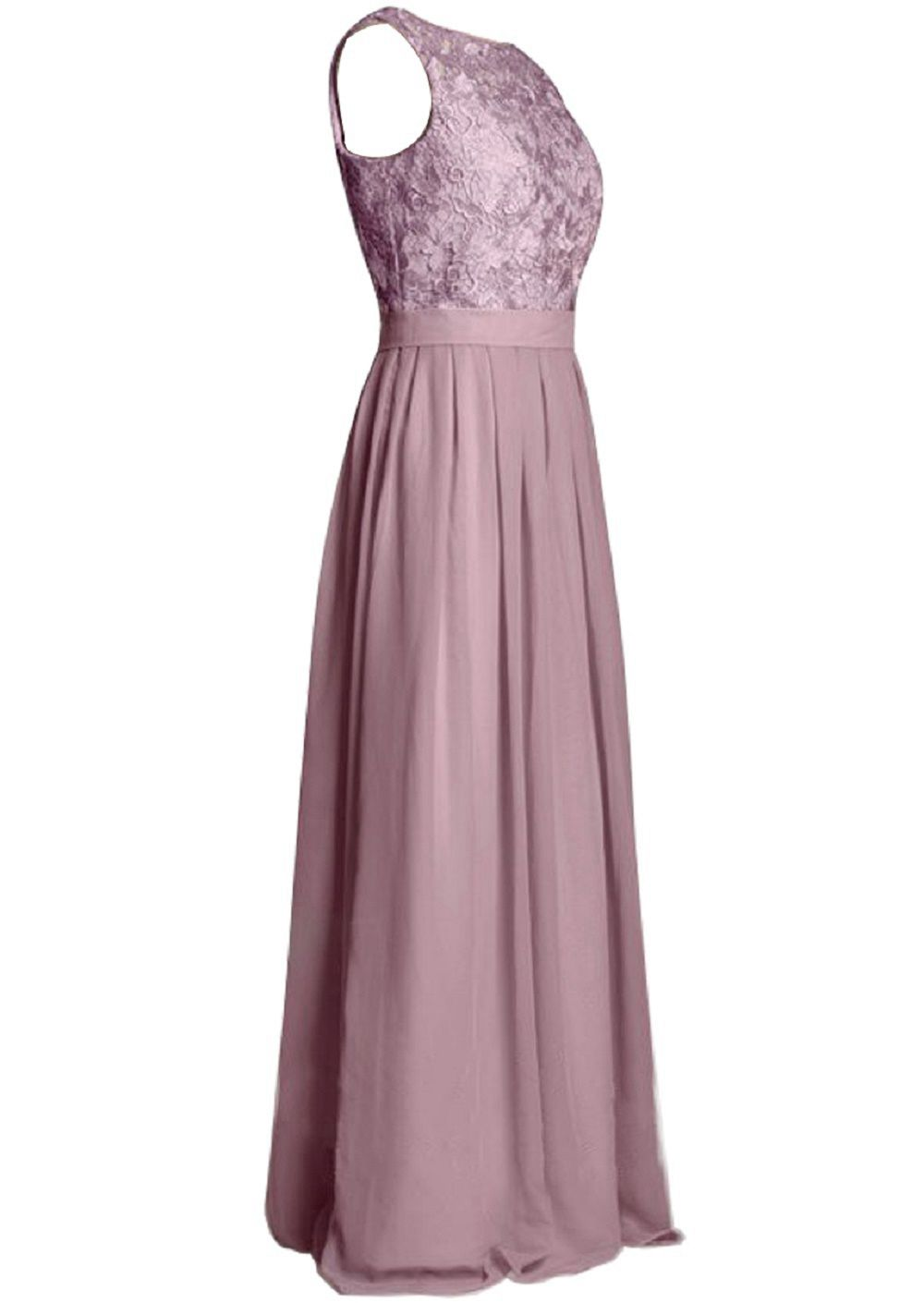 Pink Lace Bridesmaid Dress Long 2019 Scoop Applique Wedding Party Gown Sleeveless Chiffon Floor Length Beach Garden Women Dress
