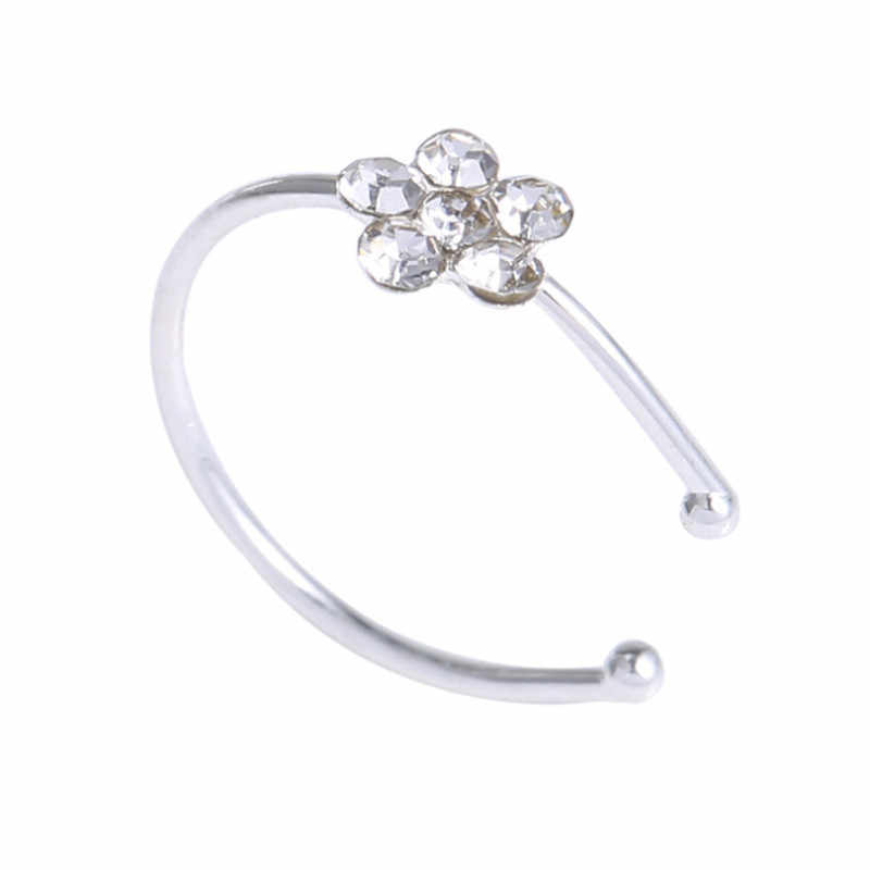 1PC Colorful Nostril Stainless Nose Hoop Plum Nose Rings Clip On Nose Ring Fake Piercing Body Jewelry For Women