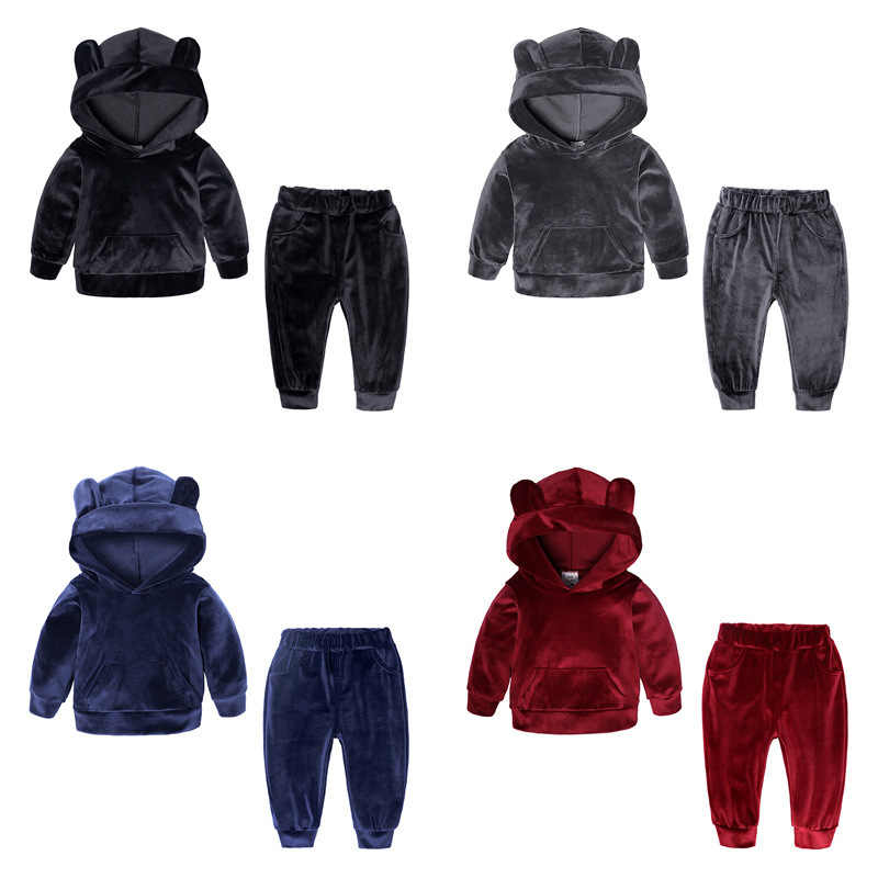 Children Clothes Suits Baby Kids Boys Stripe Hoodie Swearshirt+Pants 2pcs Baby Sport Boys Girls Gold velvet Casual Clothing Sets