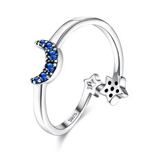 ZEMIOR S925 Sterling Silver Rings Crescent Shaped Ring For Women Blue CZ Star Adjustable Fine Jewelry Birthday Gift Wholesale