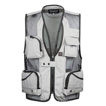 5XL Multifunctional Summer Men's Gray Military Vest Male Mesh Multi-pocket Photography Vests Men Waistcoat Jacket Travel Vest