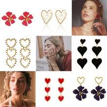 Tocona 2020 Trendy Flowers Heart Dangle Drop Earrings for Women Alloy Metal Gold Color Long Statement Earring Party Jewelry
