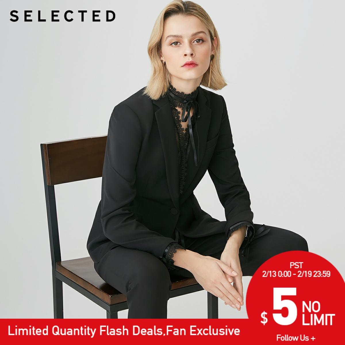 SELECTED Women's Pure Color Lace Business Casual Blazer SIG|419172509【Fan Get New Arrivals Coupons In The Description】