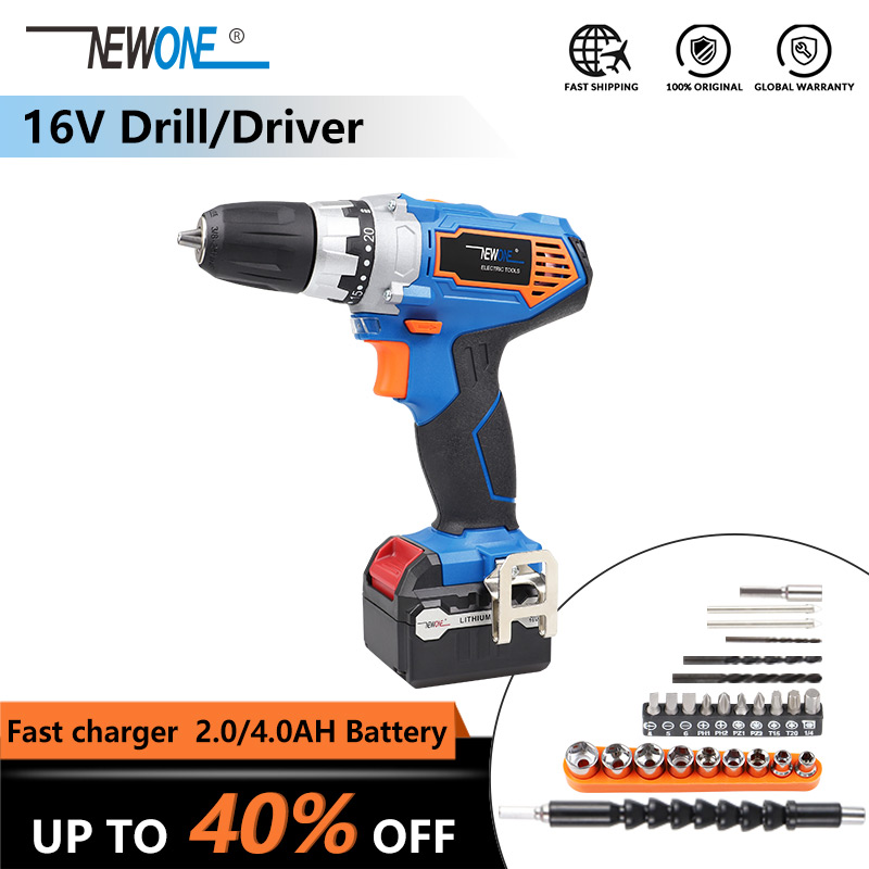 <font><b>16V</b></font> Cordless Drill Screwdriver Portable Lithium-ion Electric Drill with 4000mAh <font><b>Battery</b></font> power Driver rechargeable 2-speed drill image