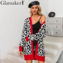 Glamaker Patchwork striped leopard red sweater Knitted sweater women cardigan 2019 winter sweater long cardigan coat knitwear(China)