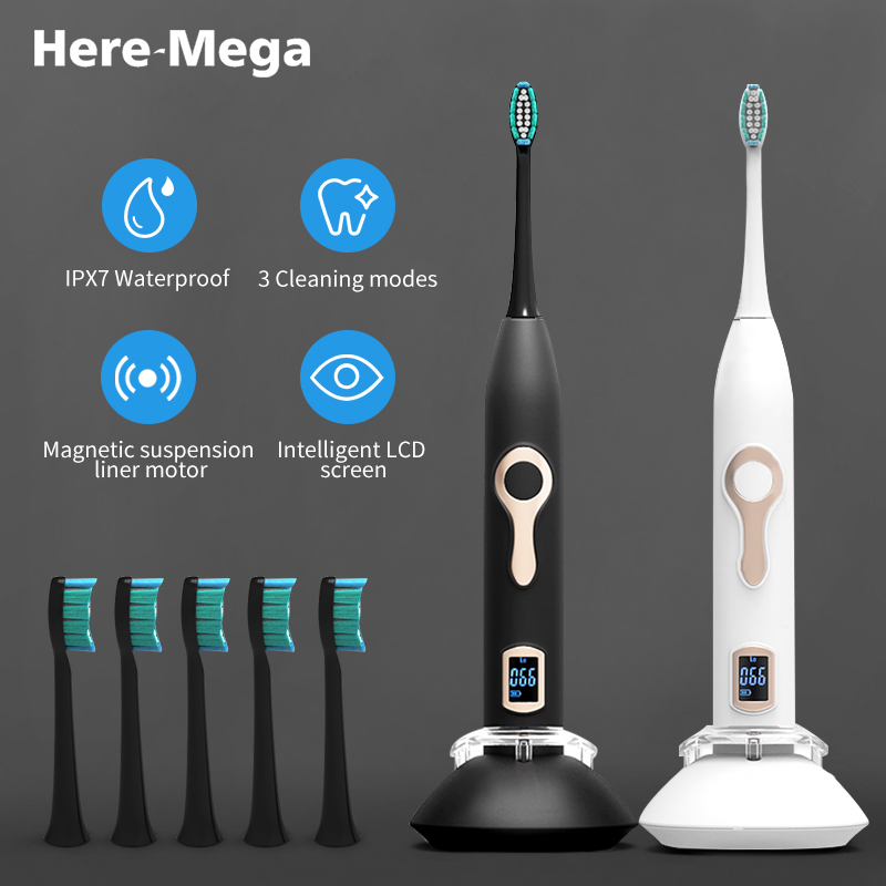 HERE-MEGA Automatic Sonic Electric Timer Toothbrush Ultrasonic Vibrating Whitening Power Rechargeable Tooth Brush USB for Adult image