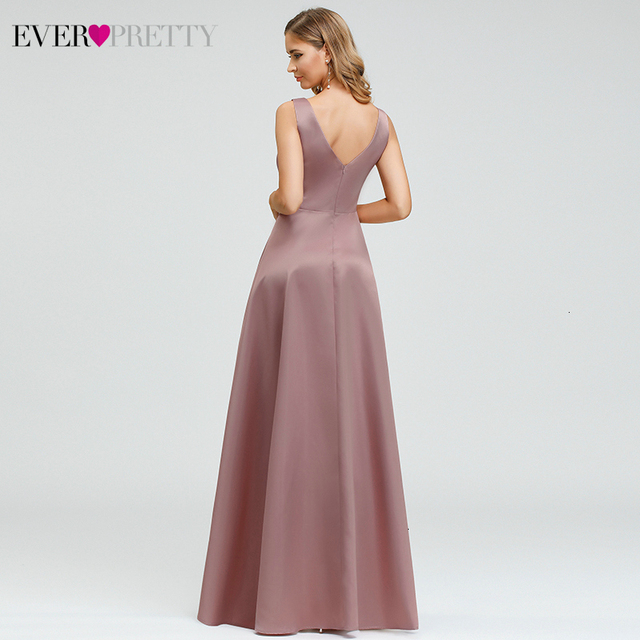 Ever Pretty Dusty Pink Prom Dresses Double V-Neck Sequined Asymmetrical Sleeveless Sparkle Formal Gowns Vestidos Formales 2020 3