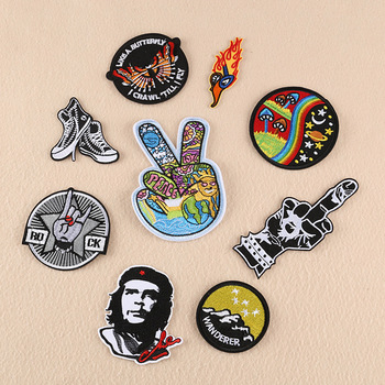HEY PATCH Fashion Patches Embroidery Stripe on Clothes Iron on Punk Style Sticker Diy Appliques Garment Accessories 19DK-025 image