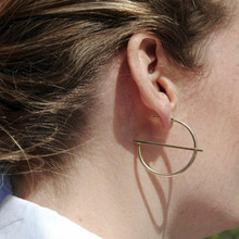 Golden Silver Color Hoop Earrings For Women Round Circle Geometric Gift Friend Wholesale Jewelry