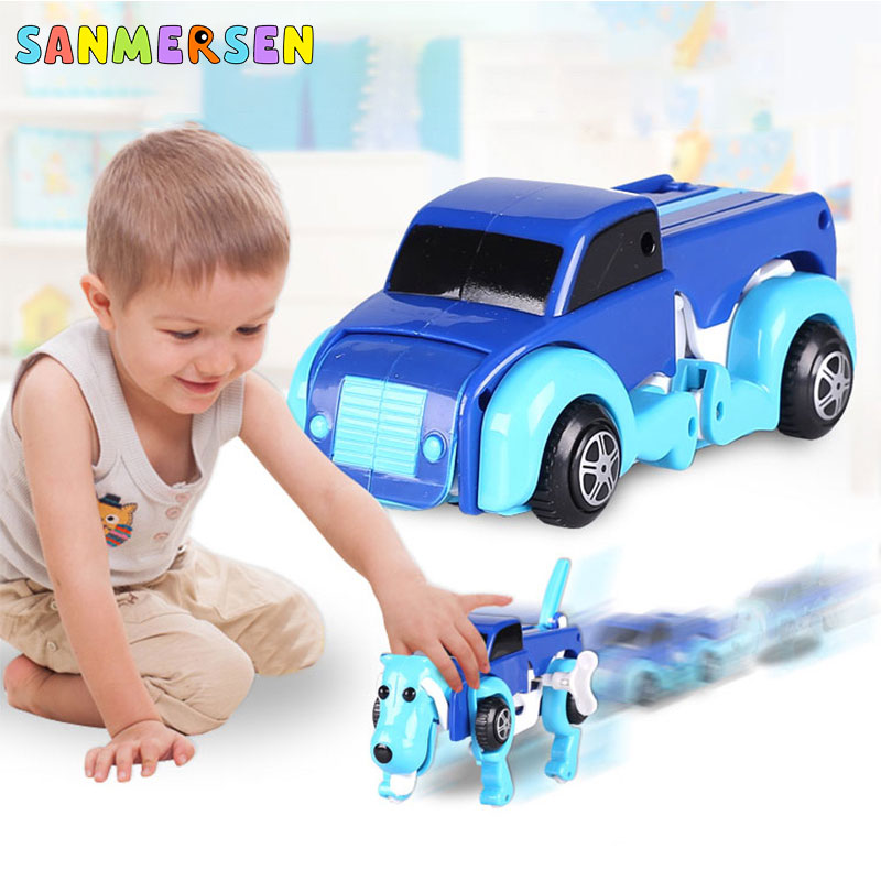 Cool Automatic Transformation Robot Dog Dinosaur Car Toys Clockwork Wind Up Toys Vehicle Model For Boys Children Kids Toy Gifts