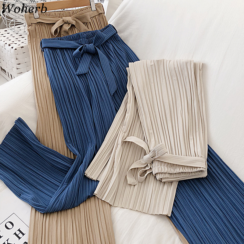 Woherb High Waist Bow Lace Up Pleated Wide Leg Pants Women Solid Color Straight Loose Ankle Length Trousers Fashion Korean 91650