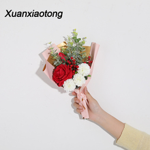 Xuanxiaotong Red Rose Bride Holding Artificial Bouquet Peony Dandelion Hybrid Home Decor for Bridal Wedding Bouquets